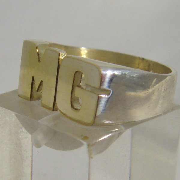 (r1054R)Seal ring with 2 initials, rectangular model.